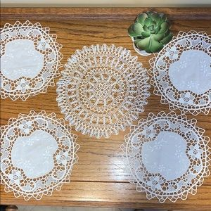 Beautiful Handmade set of 5 White Doilies
